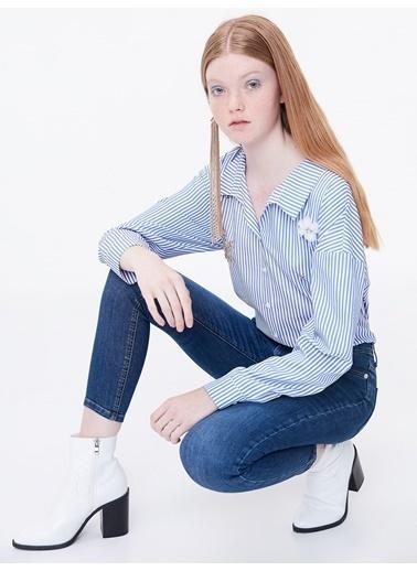 Twist Çizgili Gömlek Mavi
